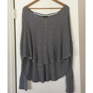 Anthro Saturday Sunday Gray Thermal Top Small